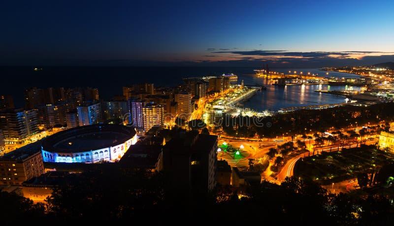 Noc widok Malaga zdjęcie stock