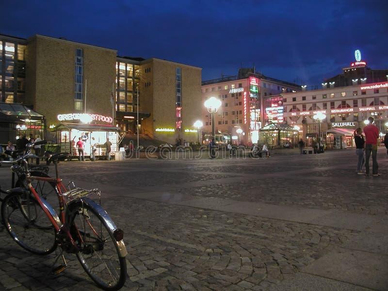 Noc widok miasto Sztokholm zdjęcie royalty free