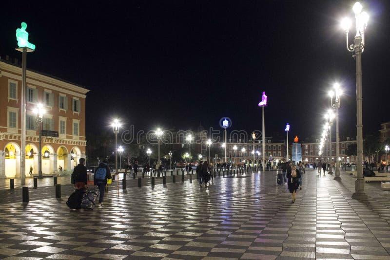 Noc widok miejsce Massena w Ładnym, Francja fotografia royalty free