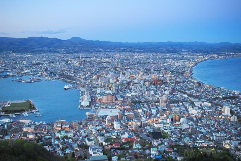 Noc widok od góry Hakodate obraz stock