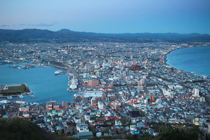 Noc widok od góry Hakodate zdjęcia stock