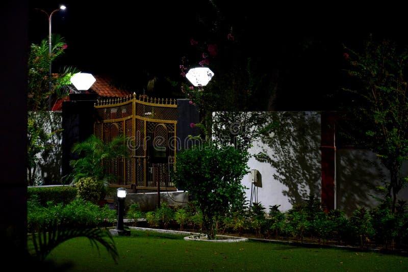 Noc widok ogród pod światłami zdjęcia royalty free