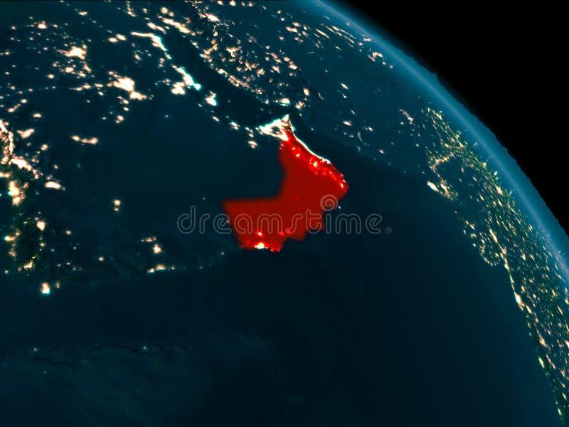 Noc widok Oman na ziemi ilustracja wektor
