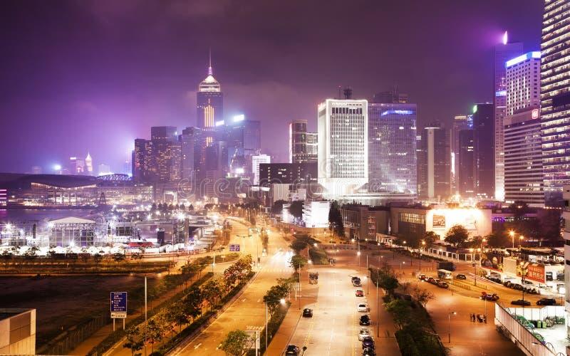 Noc widok płuca Wo droga, środkowy Hong Kong zdjęcie royalty free