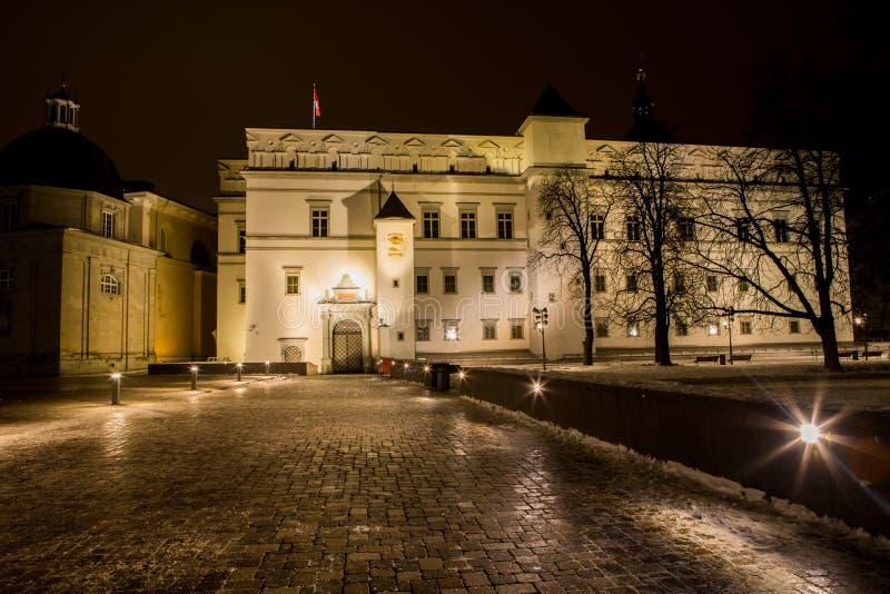Noc widok pałac Uroczyści diucy Lithuania obraz stock