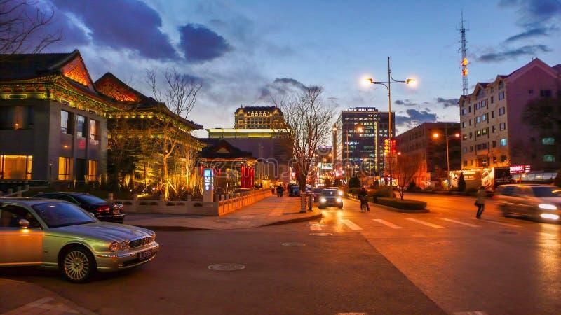 Noc widok Pekin Jinbao ulica obraz stock
