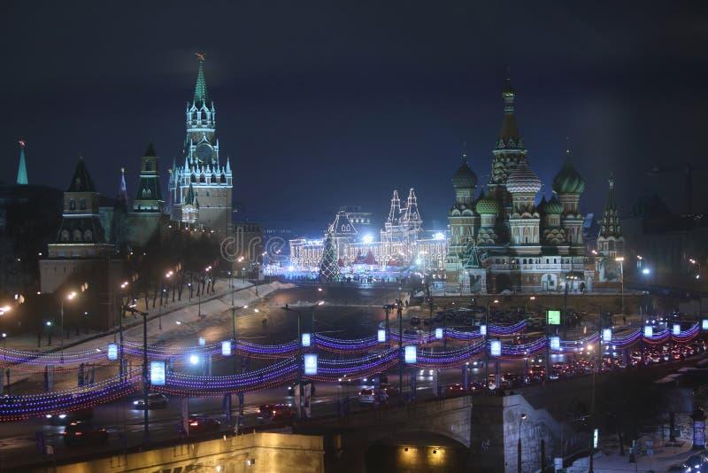 Noc widok plac czerwony Kremlin fotografia stock