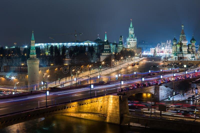 Noc widok plac czerwony Kremlin obrazy stock