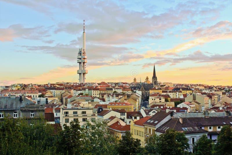 Noc widok Prague na vitkove wzgórze fotografia royalty free