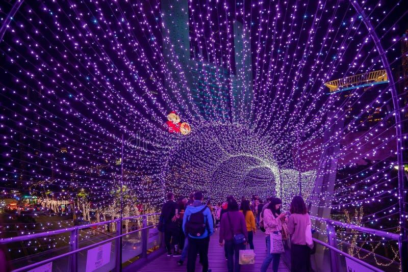 Noc widok purpurowa lekka tunelowa bo?e narodzenie dekoracja przed urz?d miasta fotografia royalty free