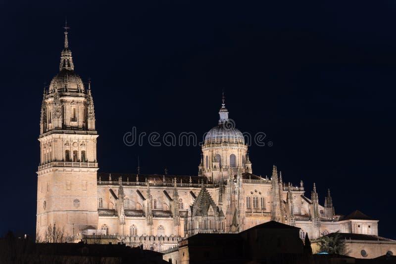 Noc widok Salamanca katedra, Salamanca, Hiszpania obrazy royalty free