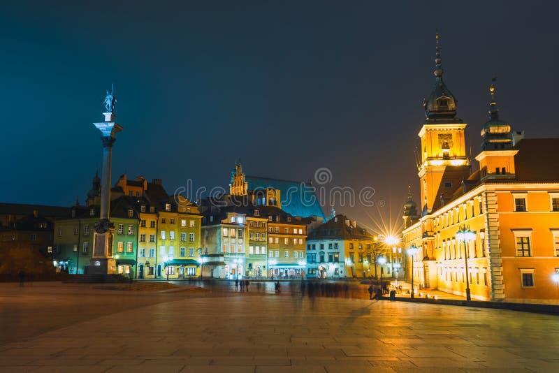Noc widok Stary miasteczko w Warszawa, Polska obrazy stock