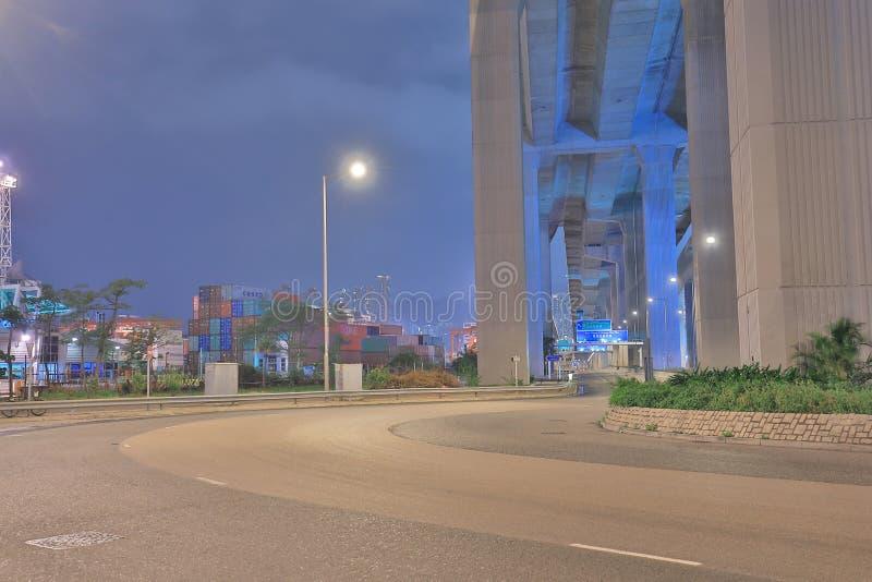 noc widok Stonecutter most hk zdjęcia royalty free