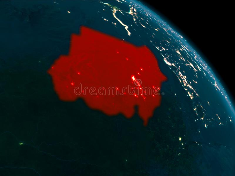 Noc widok Sudan na ziemi ilustracja wektor