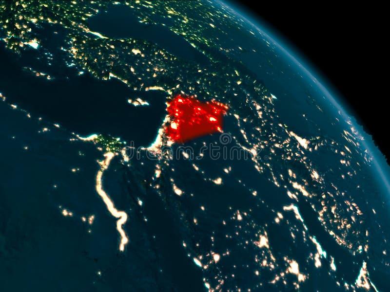Noc widok Syria na ziemi ilustracja wektor