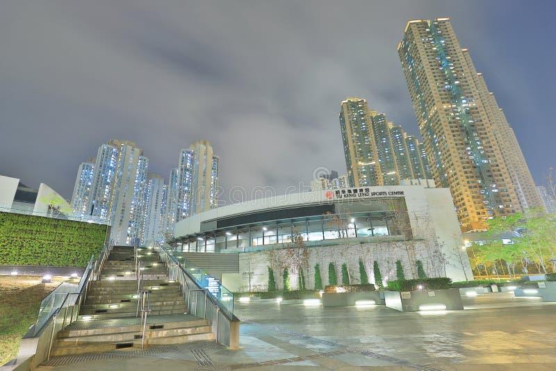 noc widok Tiu Keng Leng sportów Centre obraz stock