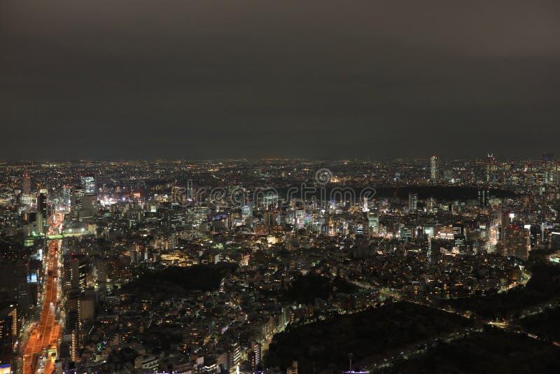 Noc widok Tokio pejzaż miejski obraz stock