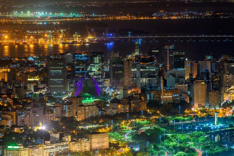 Noc widok z lotu ptaka Centro, Lapa i Сathedral w Rio De Janeiro, zdjęcia royalty free
