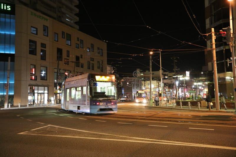 noc widoku Hakodate uliczny miasto, Japonia, Uliczny widok fotografia royalty free