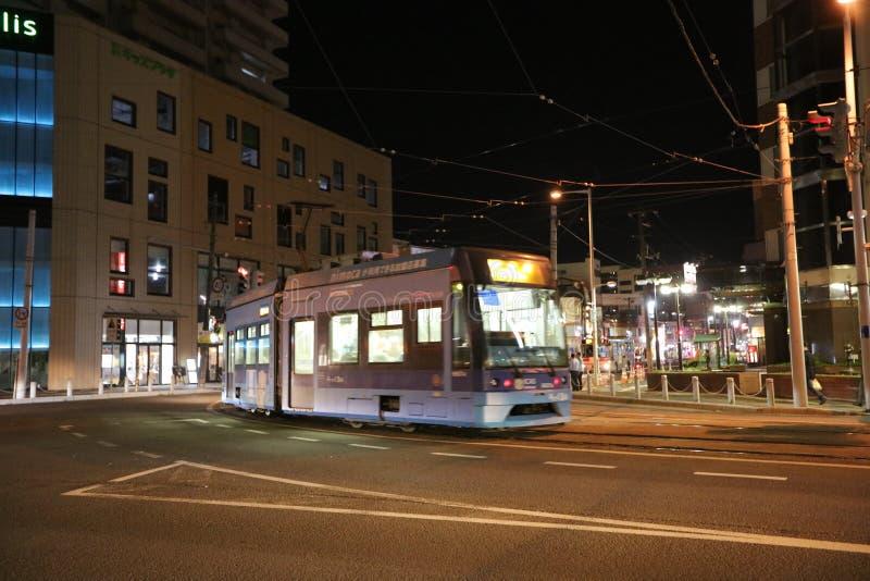 noc widoku Hakodate uliczny miasto, Japonia, Uliczny widok obrazy stock