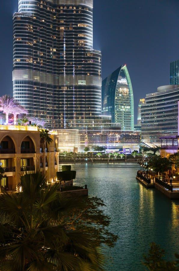 Noc widoku rzep Dubaj obrazy royalty free
