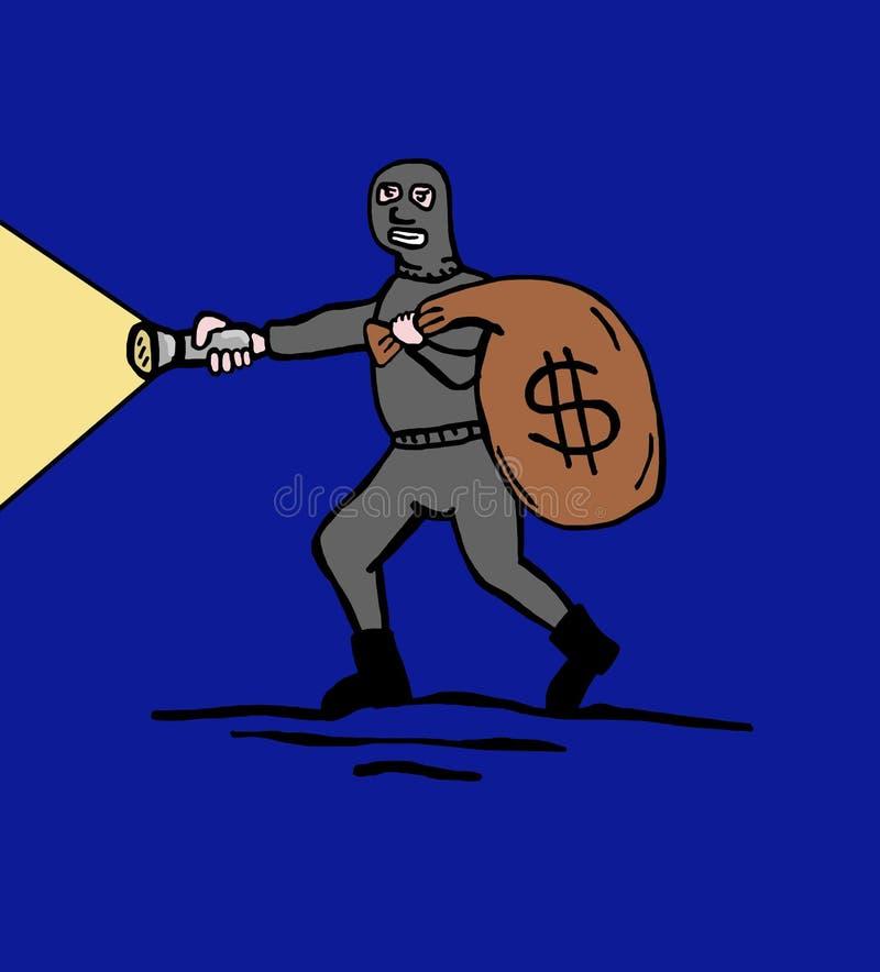 Noc złodziej royalty ilustracja