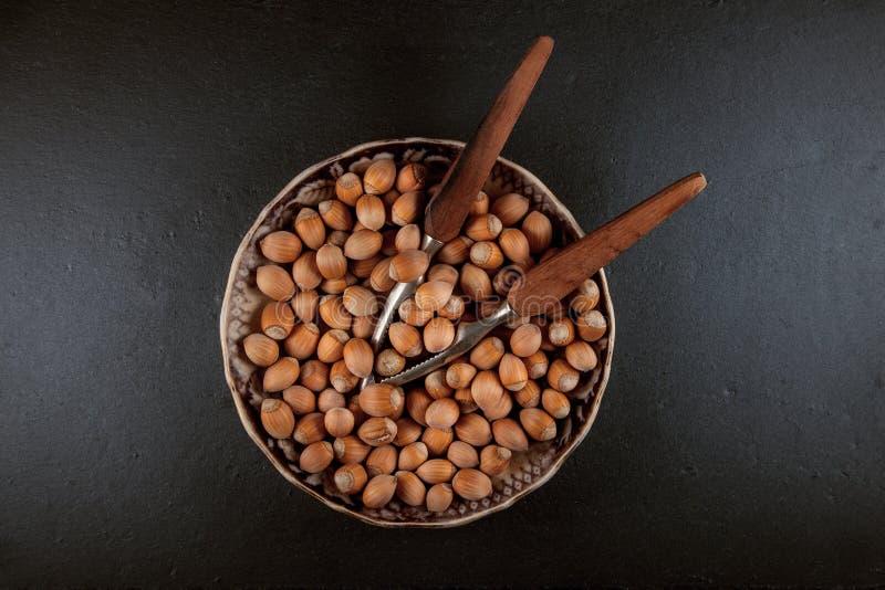 Nocciole fresche e mature pronte da mangiare in una ciotola immagine stock libera da diritti