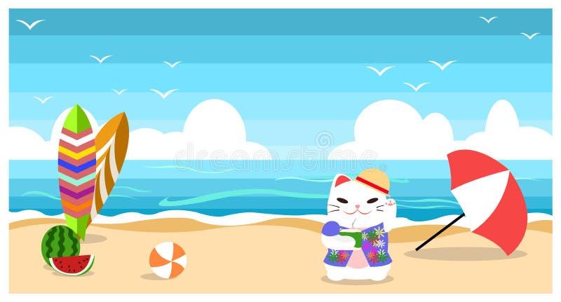 Noce di cocco della bevanda del gatto al fumetto piano di progettazione del fondo della spiaggia di estate della spiaggia immagine stock