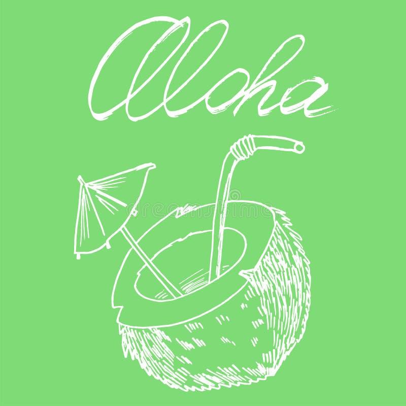 Noce di cocco ed aloha iscrizione bianca sull'immagine verde di vettore del fondo illustrazione vettoriale