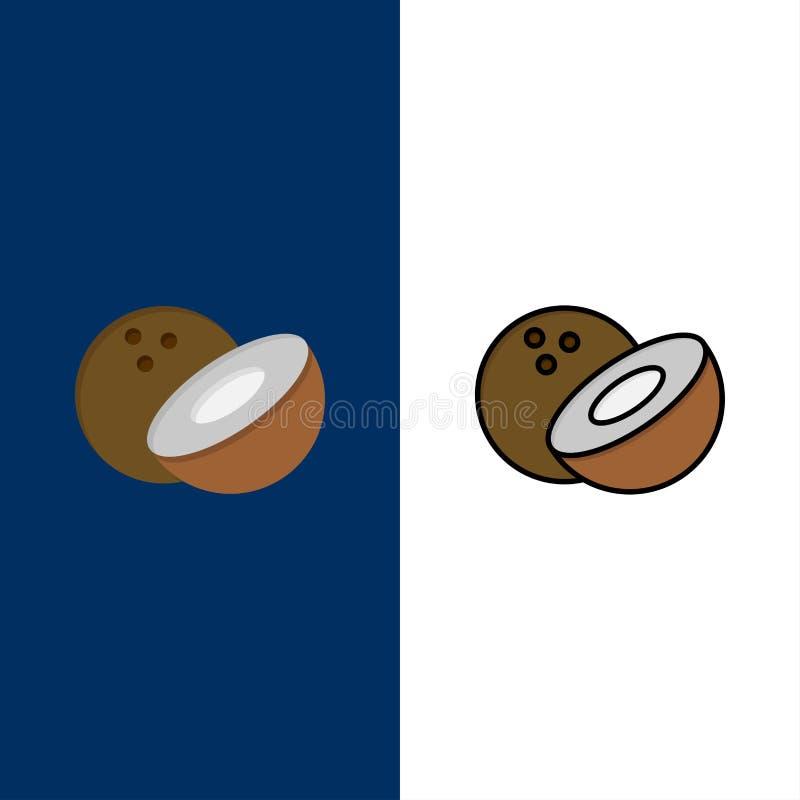 Noce di cocco, icone dell'alimento Il piano e la linea icona riempita hanno messo il fondo blu di vettore royalty illustrazione gratis