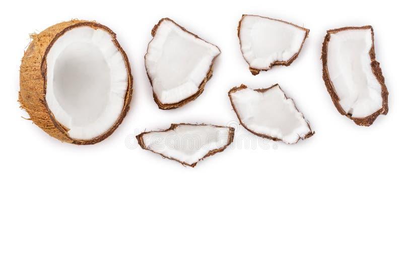 Noce di cocco isolata su fondo bianco con lo spazio della copia per il vostro testo Vista superiore Disposizione piana illustrazione di stock