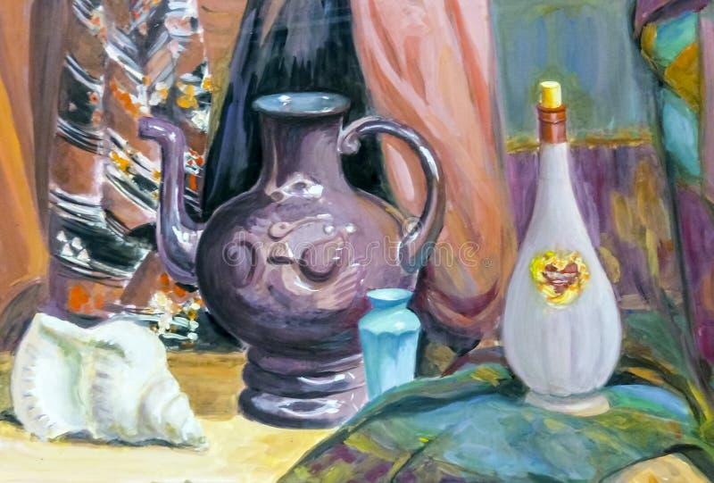 Noch Leben 1 Eine Malerei, die ein Stillleben, einen Vase, Teller, a darstellt stockfotografie