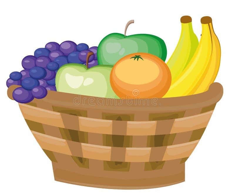 Noch Leben 1 Korb mit Früchten - Bananen, Trauben, Äpfel Geschenke des Herbstes ernte stock abbildung