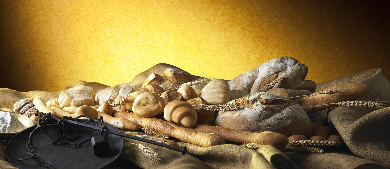 Noch Leben mit Brot stockfotos