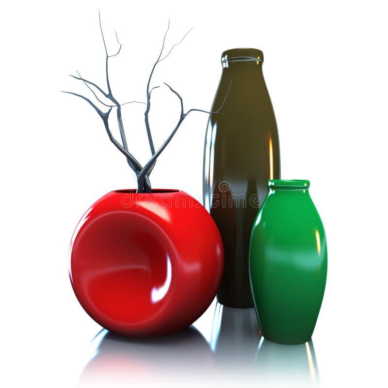 Noch Leben mit Vasen und getrocknetem Brunch Abbildung 3D stock abbildung