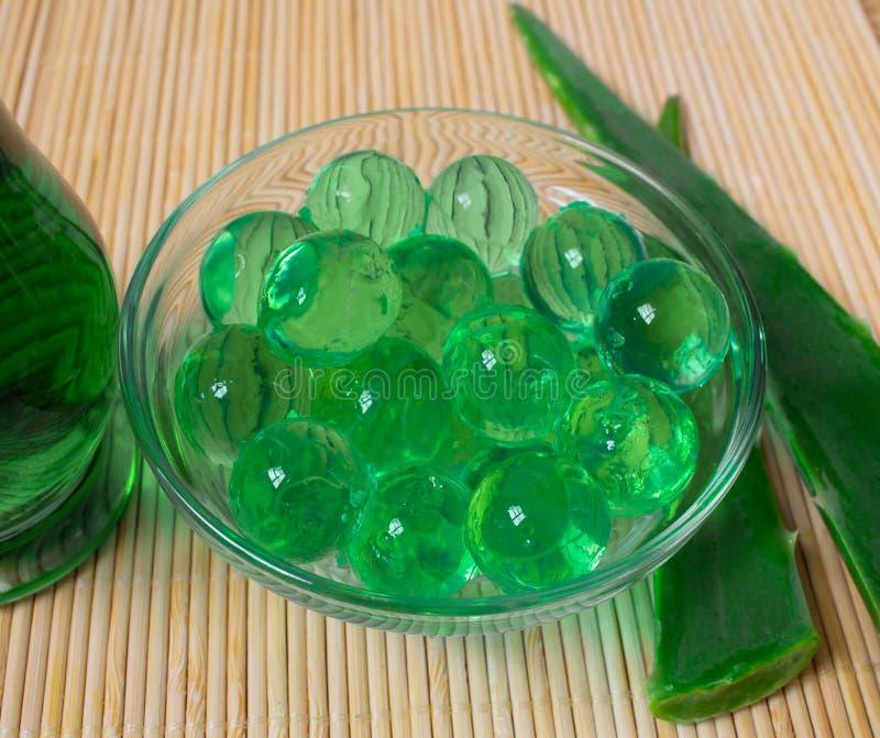 Noch Leben 1 Naturkosmetik von der Aloe Vera, von den Ölen und vom Gel Alles für die Haut stockfotografie