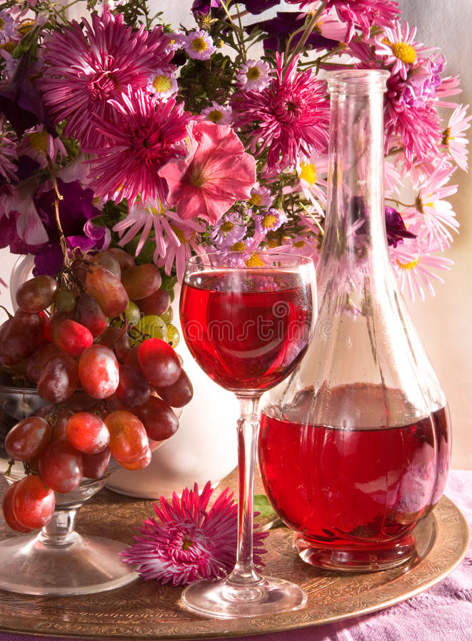 Noch Leben und Glas Wein stockfotos