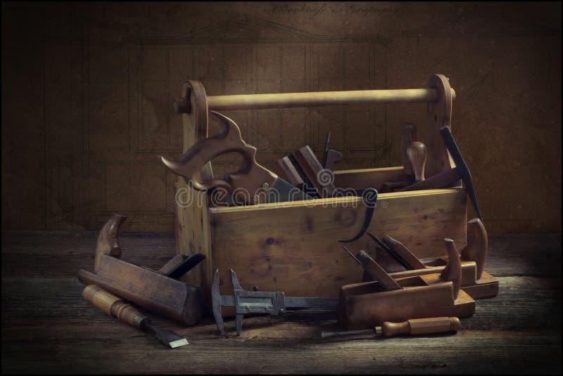 Noch lebens- alter hölzerner Werkzeugkasten lizenzfreie stockfotos