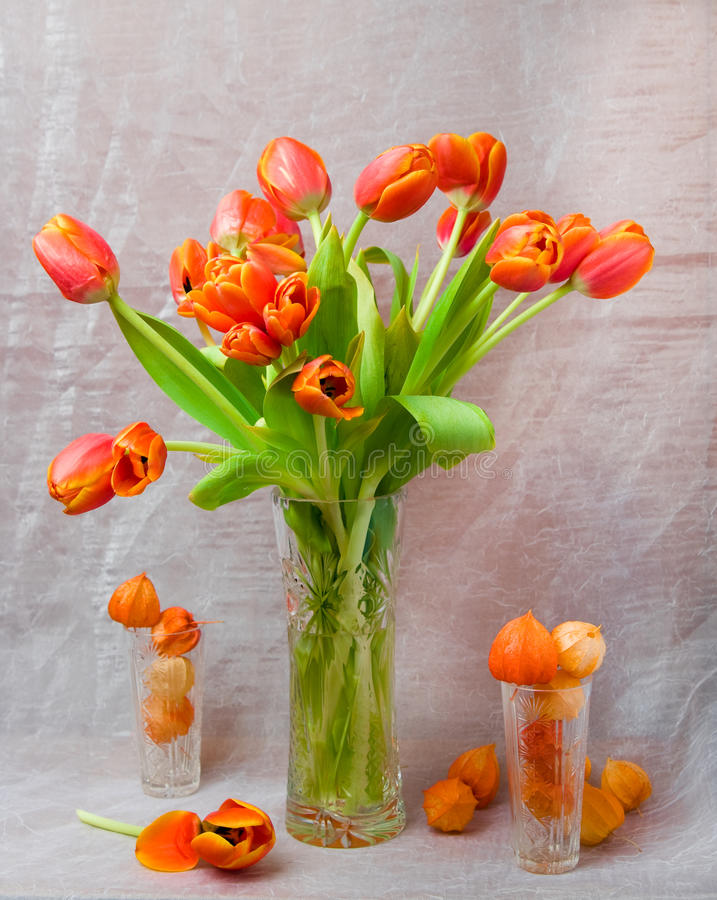 Noch-Lebensdauer Frühlingsfarben der orange Farbe stockfotografie