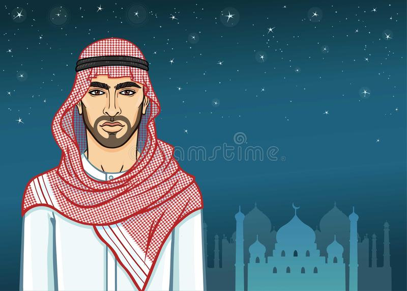 Noche árabe Retrato de la animación del hombre árabe hermoso en ropa tradicional ilustración del vector