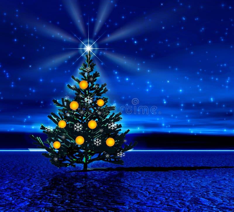 Noche. Árbol de navidad stock de ilustración