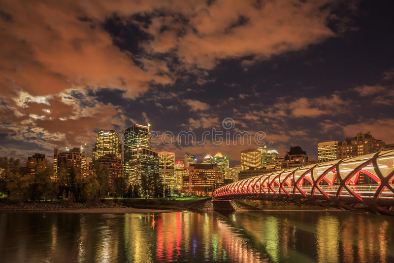 Noche Calgary imagen de archivo libre de regalías