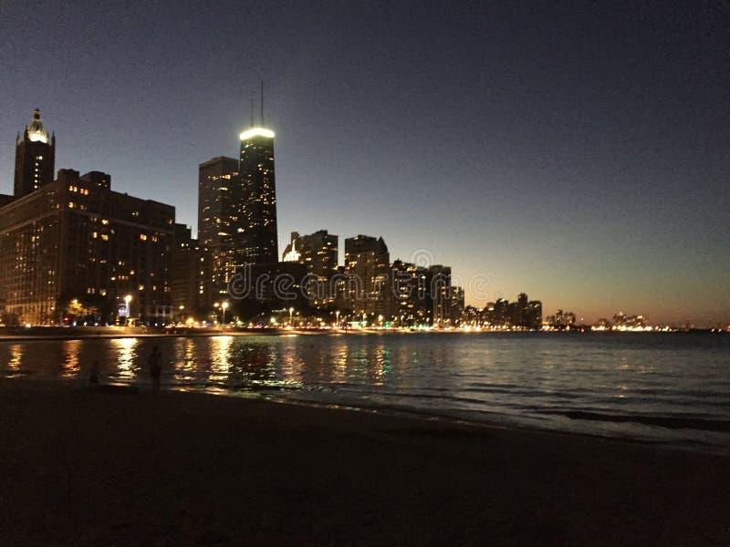 Noche Chicago foto de archivo