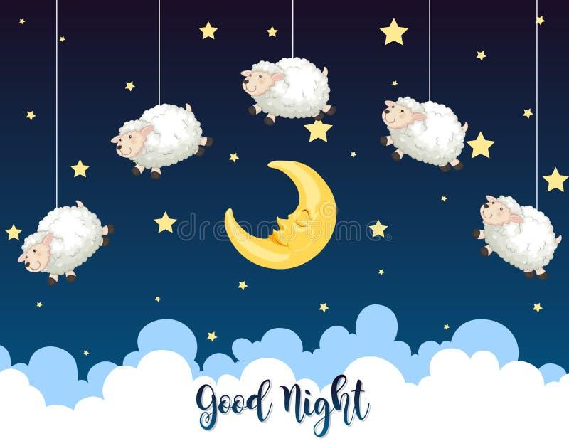 Noche con ovejas en el cielo stock de ilustración