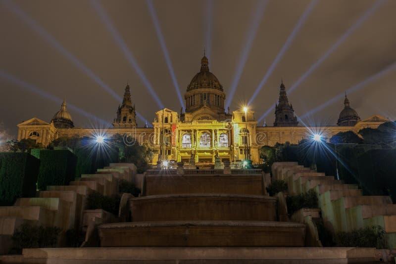 Noche de Barcelona fotografía de archivo