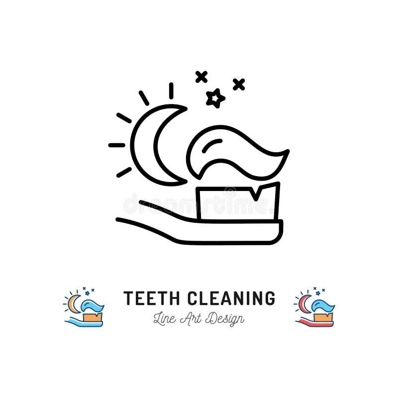 Noche de cepillado de los dientes, cepillo de dientes con el icono de la crema dental de la luna y estrellas Línea fina iconos, v stock de ilustración