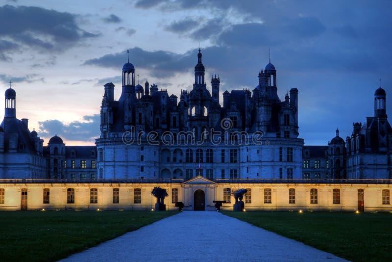 Noche de Chateau de Chambord, Loire Valley, Francia fotografía de archivo libre de regalías