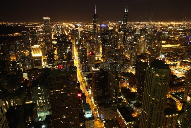 Noche de Chicago imagen de archivo