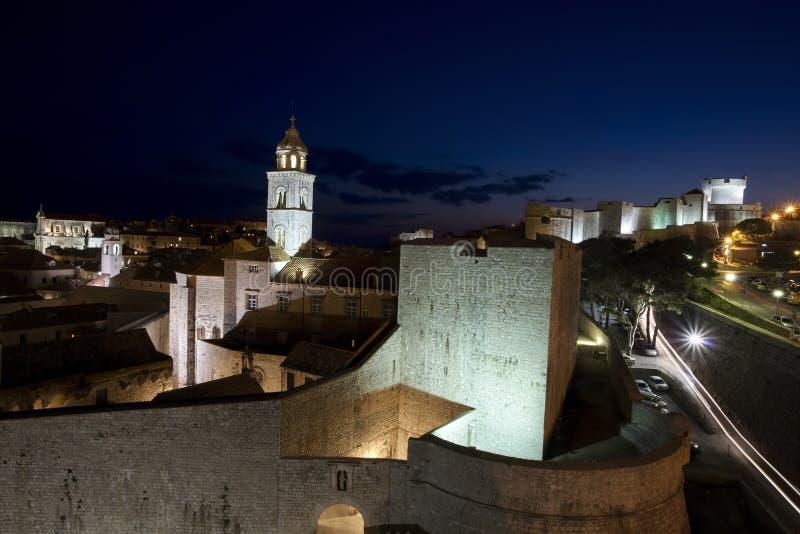 Noche de Dubrovnik imagen de archivo