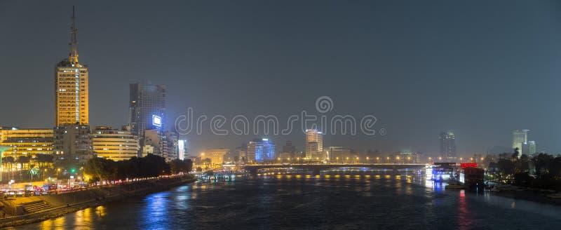 Noche de El Cairo panormic fotos de archivo libres de regalías